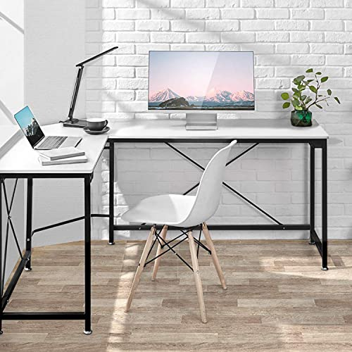 L-Shaped Desk Corner Computer Desk, PC Laptop Home Office Desk, Corner Table Workstation with Modern Style and MDF Board, Easy to Assemble Scratch Resistant Tabletop 64.9x49x29.7 inches, White