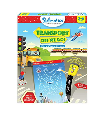 Skillmatics Educational Game: Transport Off We Go (3-6 Years) | Fun Learning Activities Kids (Blue)