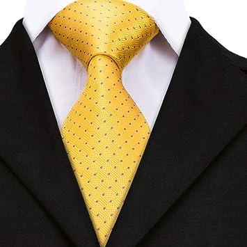 AK Corbata de lazo para hombre Corbata de seda dorada Puntos ...