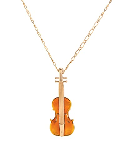 Very Special Violin Pendant on a Gold Chain Long Necklace (In Gift Pouch) Cute Quirky Kitsch Unique Fashion Jewellery oyG2rJ4Af