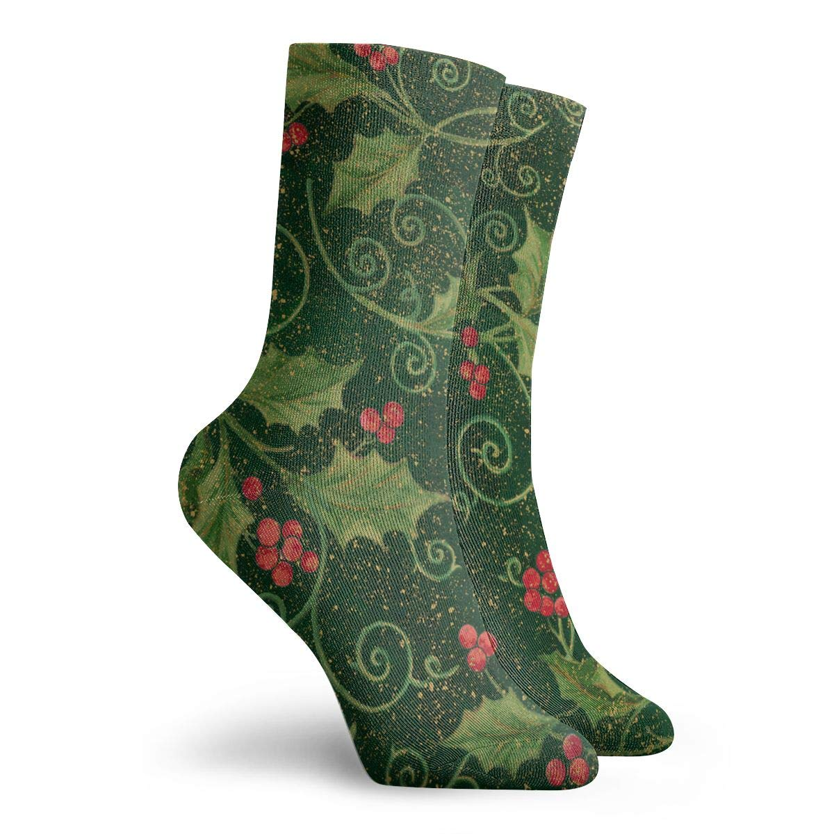 Christmas Holly Unisex Funny Casual Crew Socks Athletic Socks For Boys Girls Kids Teenagers