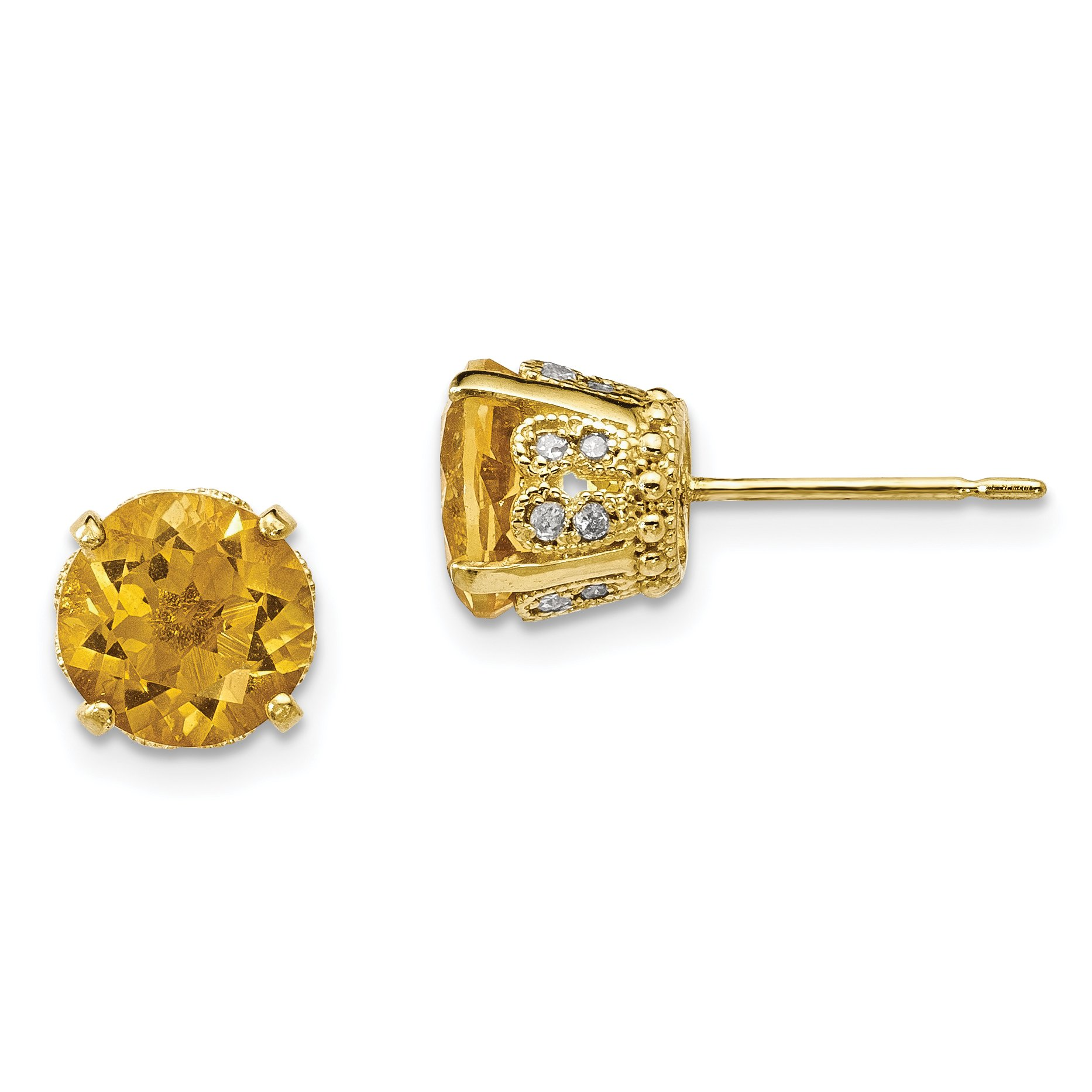 ICE CARATS 10k Yellow Gold Tiara Collection Diamond Citrine Post Stud Ball Button Earrings Set Birthstone Yc Fine Jewelry Gift For Women Heart
