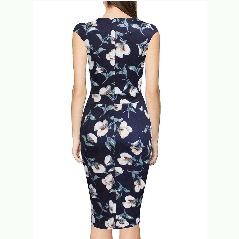 better-caress Vintage Floral V Neck Sleeveless Sheath Bodycon Print Midi Vestido Navy Blue Robe at Amazon Womens Clothing store: