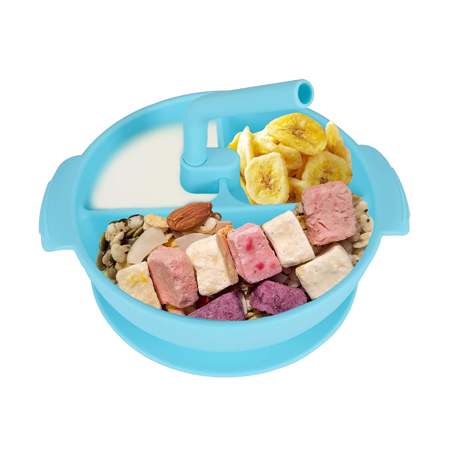 MUCH Silicone Grip Divided Dish Suction Plate for Baby Toddlers with Water Sucker, BPA Free, Microwave & Dishwasher Safe Food Material Kids, Infants Plates with Dividers (Blue)