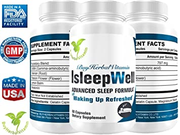 Isleepwell, (with Melatonin) Calm Your Mind and Support Sleep(60capsules, GABA