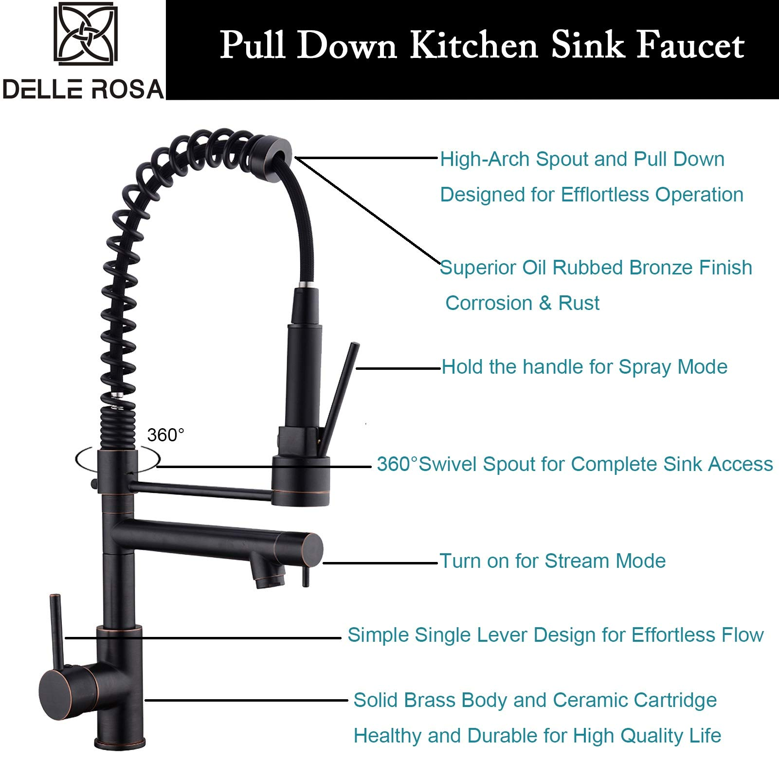 Commercial Kitchen Faucet Oil Rubbed Bronze Delle Rosa Modern Single Handle High Arch Spring Pre-rinse Farm Kitchen Sink Faucets by Delle Rosa (Image #2)