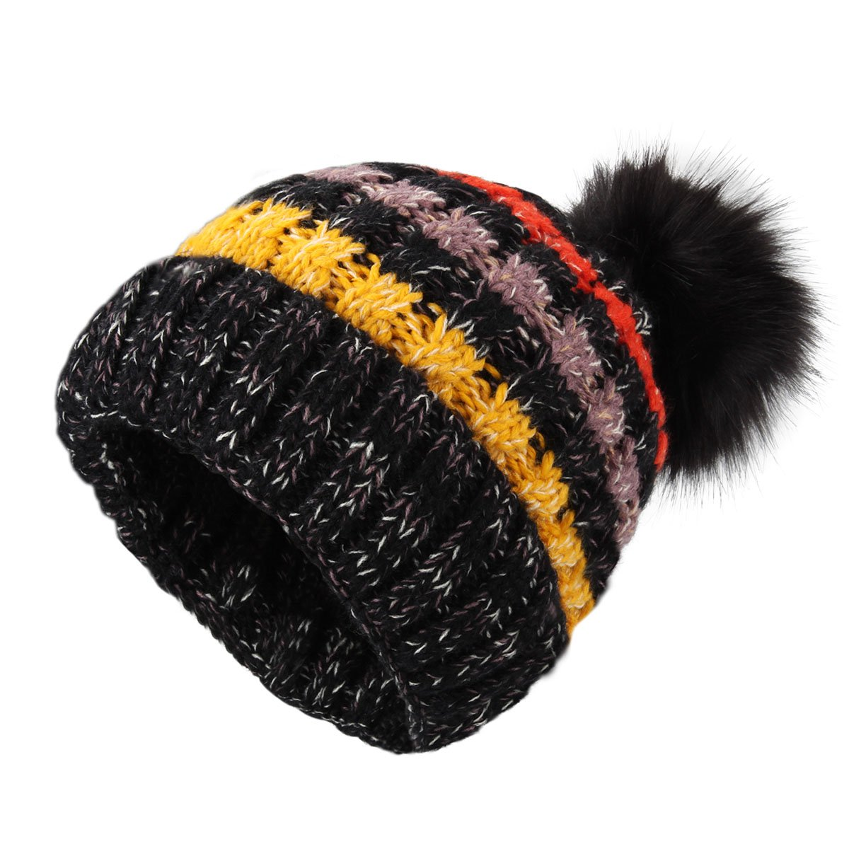 YOPINDO Knitted Hats Girls Ladies Beanie Hat Wool Winter Warm Outdoor Ski  Snowboard Cycle Bobble Hemming 337139c10b8b