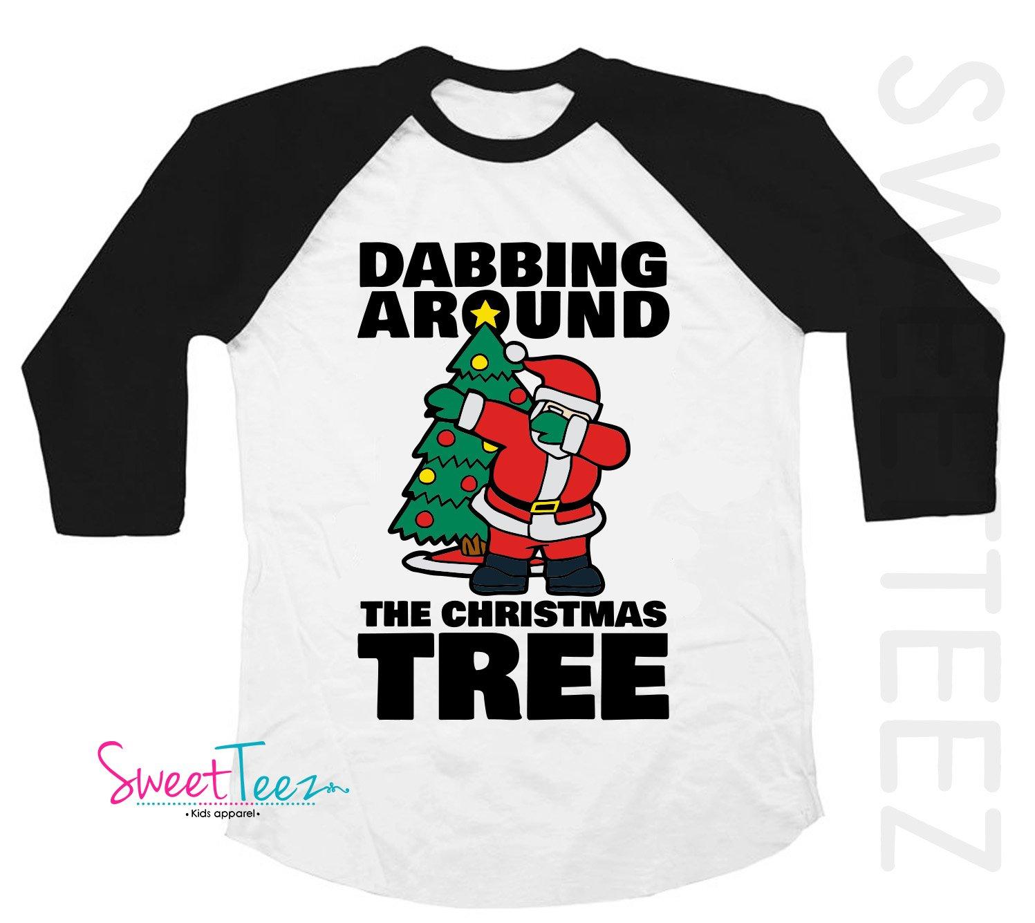 Amazon.com: Funny Christmas Shirt for Kids Dabbing Around the ...