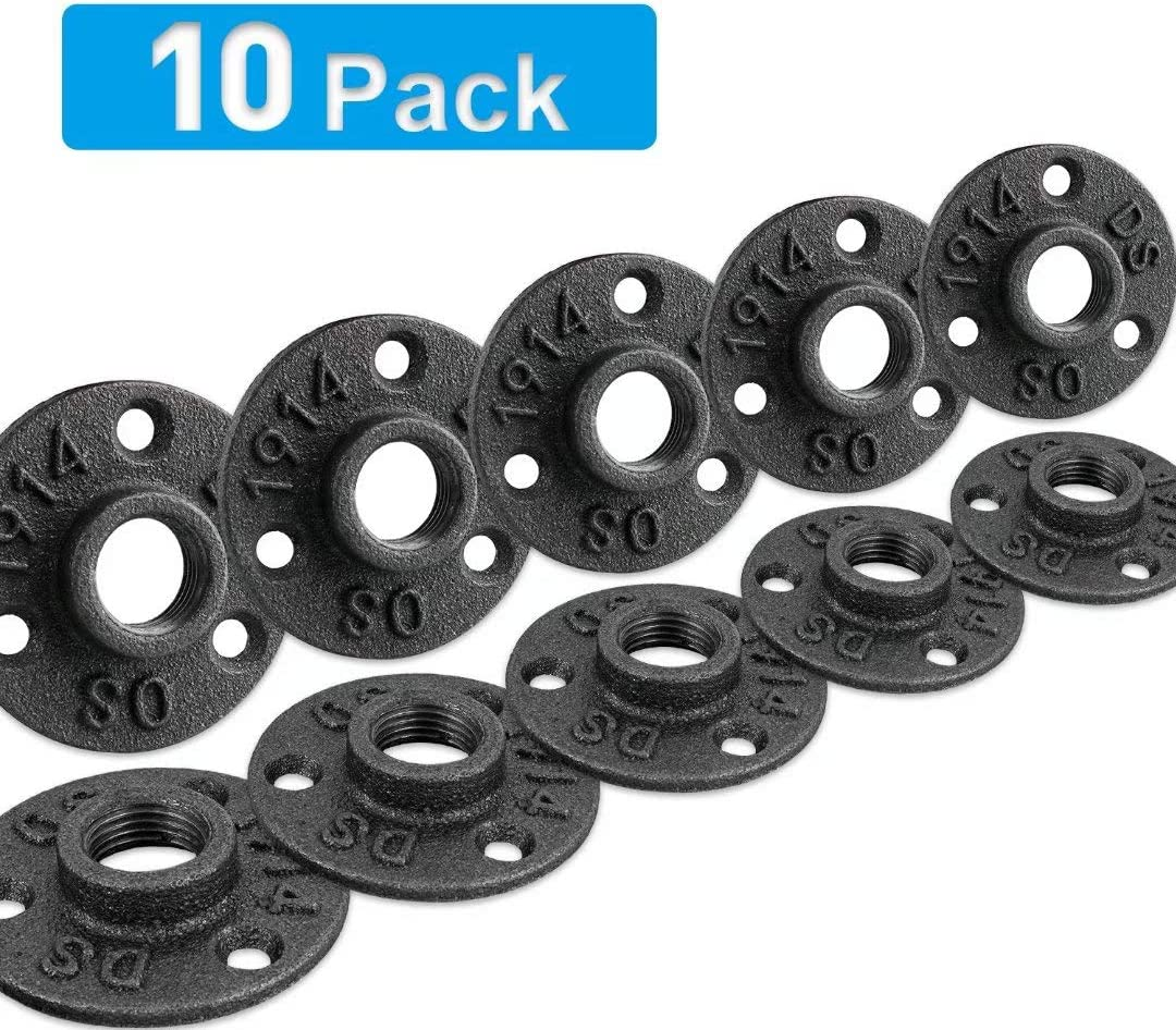 "3/4"" Floor Flange, Home TZH Malleable iron Pipe Fittings for Industrial vintage style, Flanges with Threaded Hole for DIY Project/Furniture/Shelving Decoration (10 Pack)"