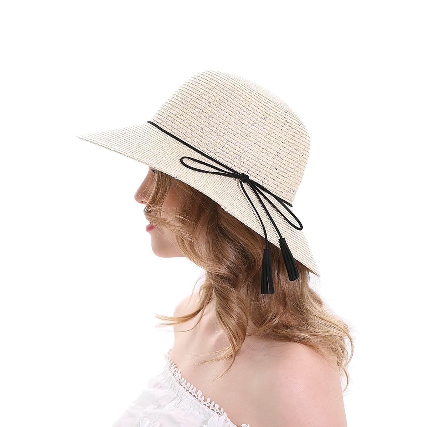 bf829a10e MEEFUR Casual Summer Beach Hats Rope Solid Bucket Cord Paper Straw Sun Hat  Sequins Foldable Roll up Wide Brim UV Protection Cap for Women Beige at  Amazon ...