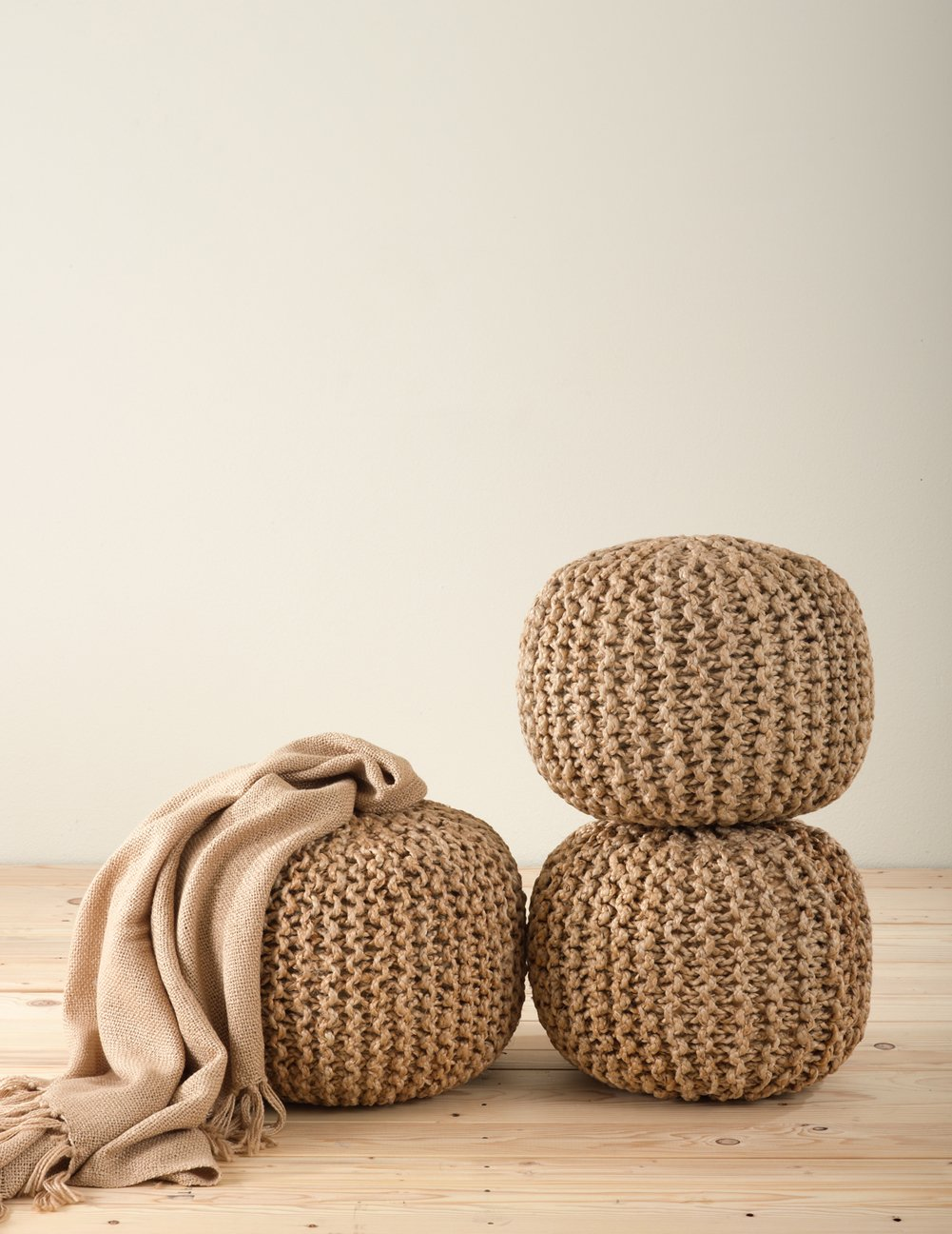 fenncostyles.com Chic Knitted Design Jute Pouf Ottoman – Natural – 18 Dia x 14 High – One Piece