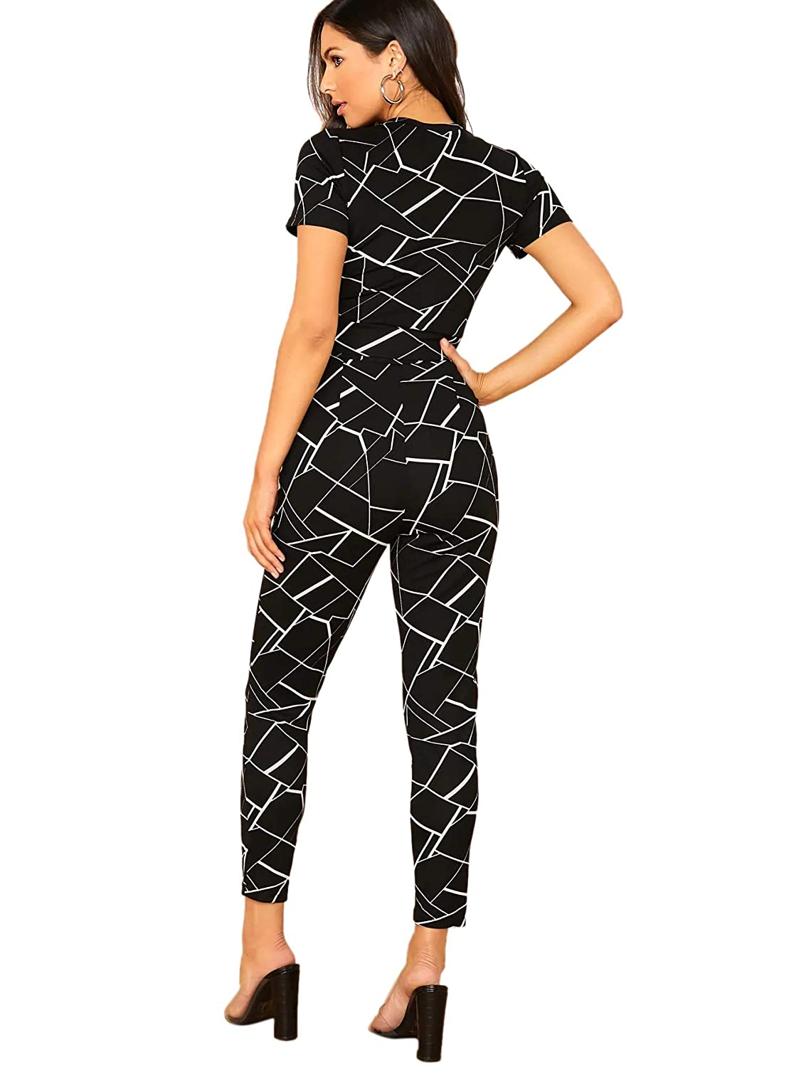 SheIn Womens Cross Wrap Front Plaid Round Short Sleeve Top /& Skinny Pants Set