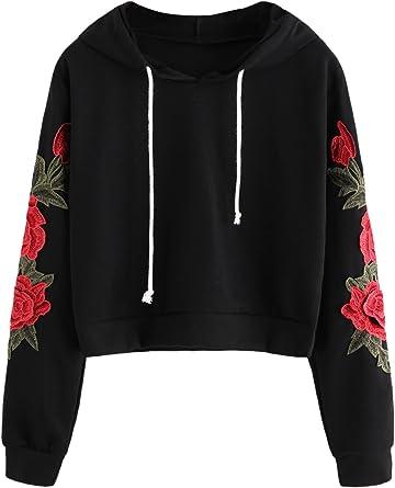 Romwe Womens Long Sleeve Colorblock Striped Patch Print Hooded Sweatshirt Top Hoodie