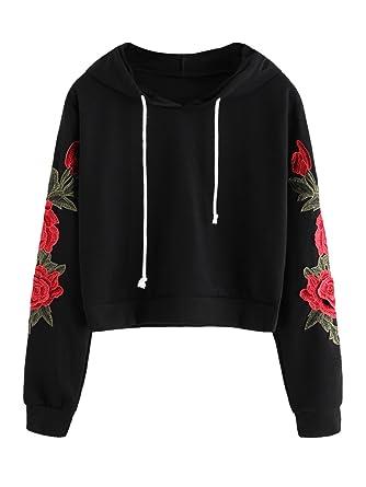 Romwe Women's Long Sleeve Embroidery Sweatshirts Casual Hoodies Pullover  Black S