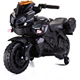 JAXPETY Kids Ride On Motorcycle 6V Battery Powered Electric Toy Car with Training Wheels (All Black Style)