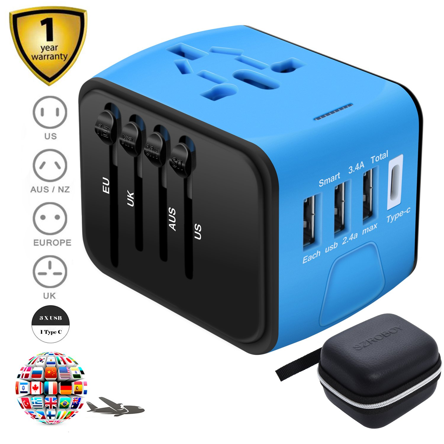 SZROBOY CSCD Travel Adapter,All-in-one International USB Travel Adapter with High Speed 3.0 Type C+3-port USB Worldwide AC Wall Outlet Plugs for For business travel of US, EU, UK, AU 200+