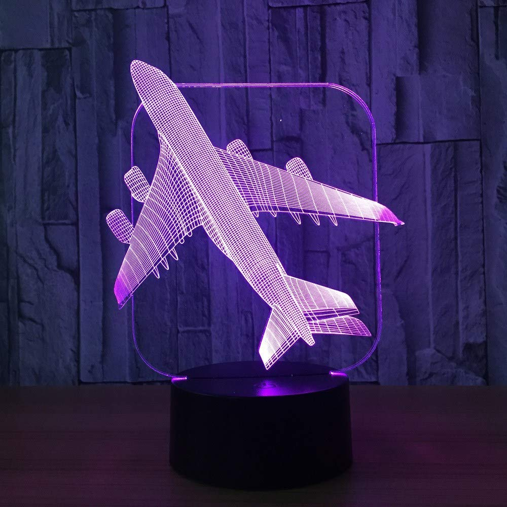 OVIIVO Creative Table Lamp Desk Lamp 3D Aircraft Warplane Model Creative Night Light Touch Jet Plane Desk Lamp Led Illusion Lamp Bedside Lamp Cool Toy Using for Reading, Working by OVIIVO (Image #2)