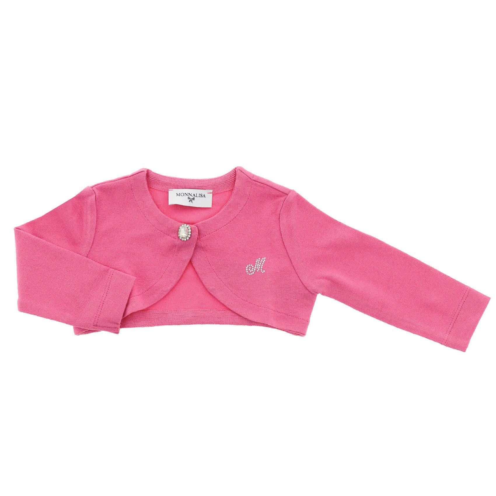Monnalisa Baby Girls 37Cbolcrepe0095 Pink Viscose Cardigan by Monnalisa