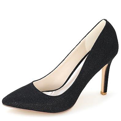 Elobaby Frauen Hochzeit Schuhe Prom Spitze Geschlossene Zehe Bankett Satin High Heels/CT0608/9.5Heel