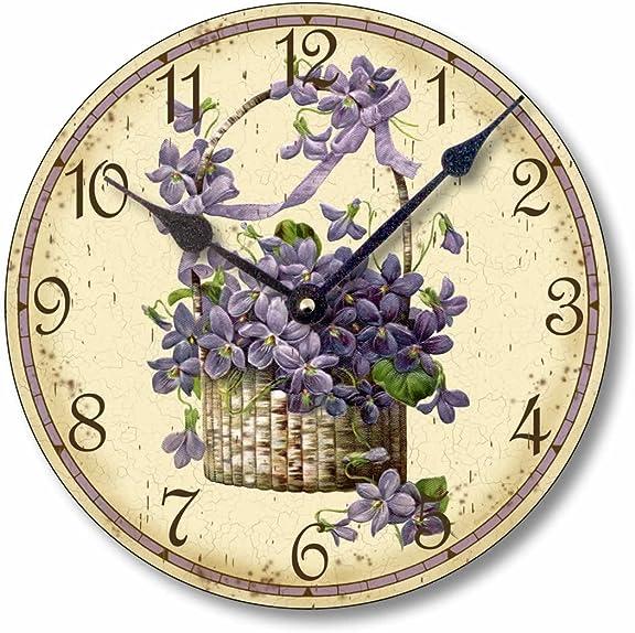 Fairy Freckles Studios Item C6018 Vintage Style Victorian Violets Clock
