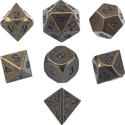 Bronze Metal Polyhedral Dice Set for Dungeons /& Dragons