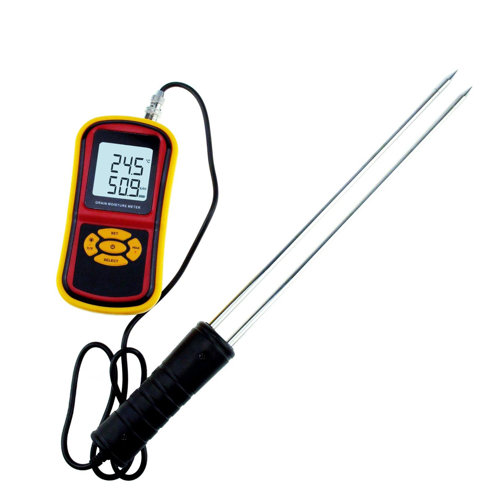 Portable Digital Grain Moisture Meter 5%~30% Temperature Measuring 10°C~60°C Hygrometer Humidity for Wheat Rice Soybean