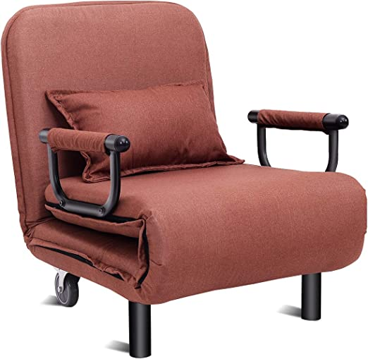 Giantex 26 5 Convertible Sofa Bed Folding Arm Chair Sleeper Leisure Recliner Lounge Couch Coffee