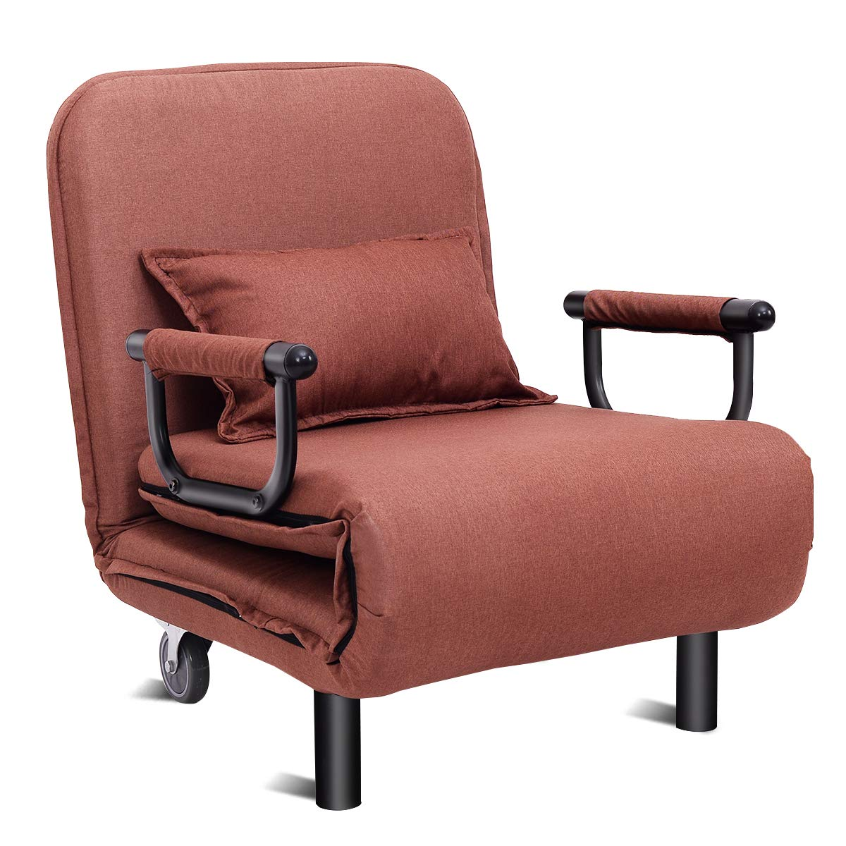 Giantex 26.5'' Convertible Sofa Bed Folding Arm Chair Sleeper Leisure Recliner Lounge Couch (Coffee) by Giantex