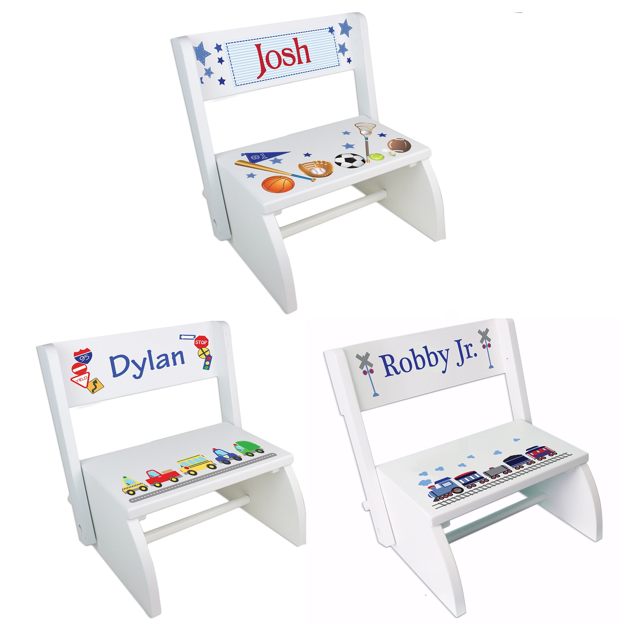 Personalized White Boys Folding Step Stool