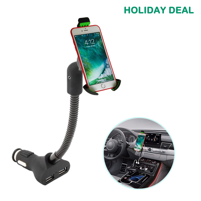 3-in-1 Supporto Auto per Cellulare con Doppia USB 3.4A Caricatore e Braccio regolabile, Supporto per iPhone X/8/8 Plus/7/7Plus,Galaxy S8/S7 Edge/Note 8/7/6, Huawei Mate 10/P10/P9, LG V30 etc. (Verde) Airena MGHC 62T