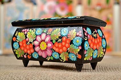 Caja de madera decorada hecho a mano decoracion de interior joyero original