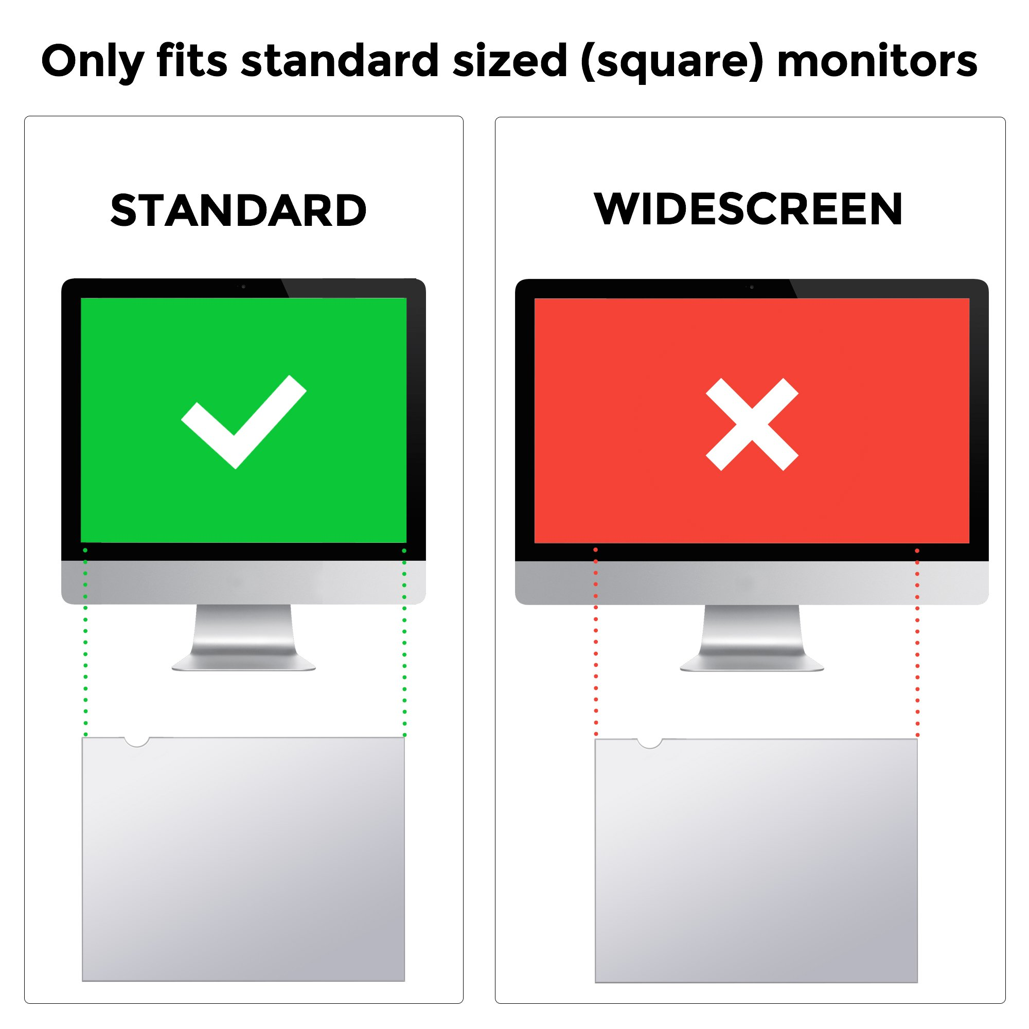 Square 19 inch (Diagonally Measured) 5:4 ratio size 14.83x11.89 inch (377x302mm) Сomputer Privacy Screen Filter for Desktop/Laptop LCD Computer Monitor, Anti-Glare. CHECK YOUR MONITOR SIZE by Privox (Image #3)