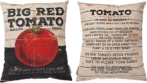 Primitives by Kathy Linen Blend Red Tomato Vintage Throw Pillow, 16 x 18-Inch,
