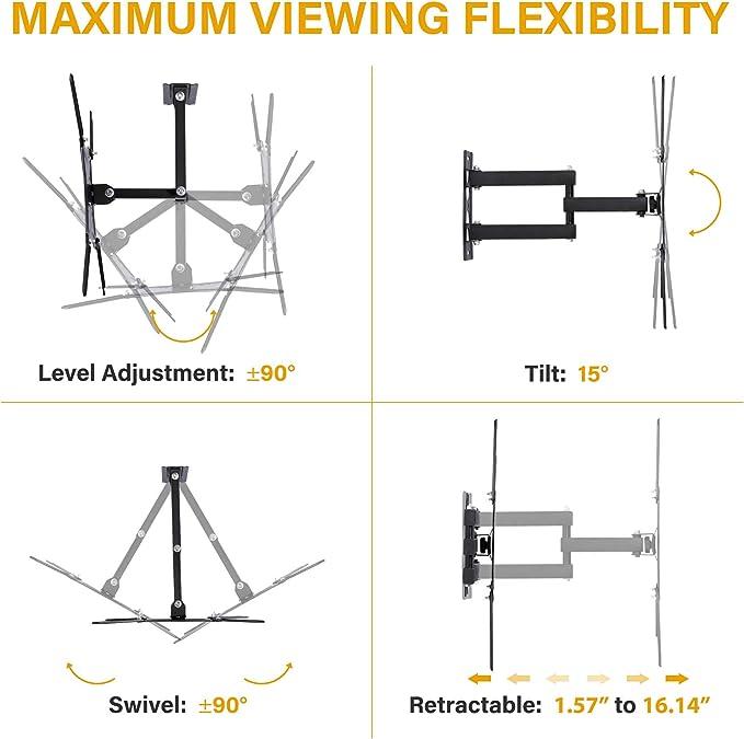 Sfeomi Supporto TV Staffa Articolata per Montaggio a Parete TV Schermo Piatto LED LCD 14-55 con Braccio Oscillante Inclinabile Girevole Max VESA 400x400