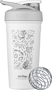 BlenderBottle Strada Shaker Cup Insulated Stainless Steel Water Bottle with Wire Whisk, 24-Ounce, Harry Potter Icons