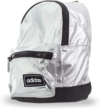 adidas Womens Classic Metallic XS Backpack, Metallic Silver/Black/White