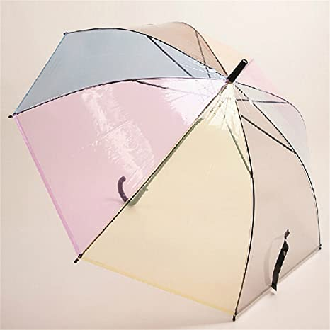 1PCS Plastic 8 Ribs Long Handle Rainbow Transparent Bubble Umbrella Rain Women Semi-Automatic Paraguas