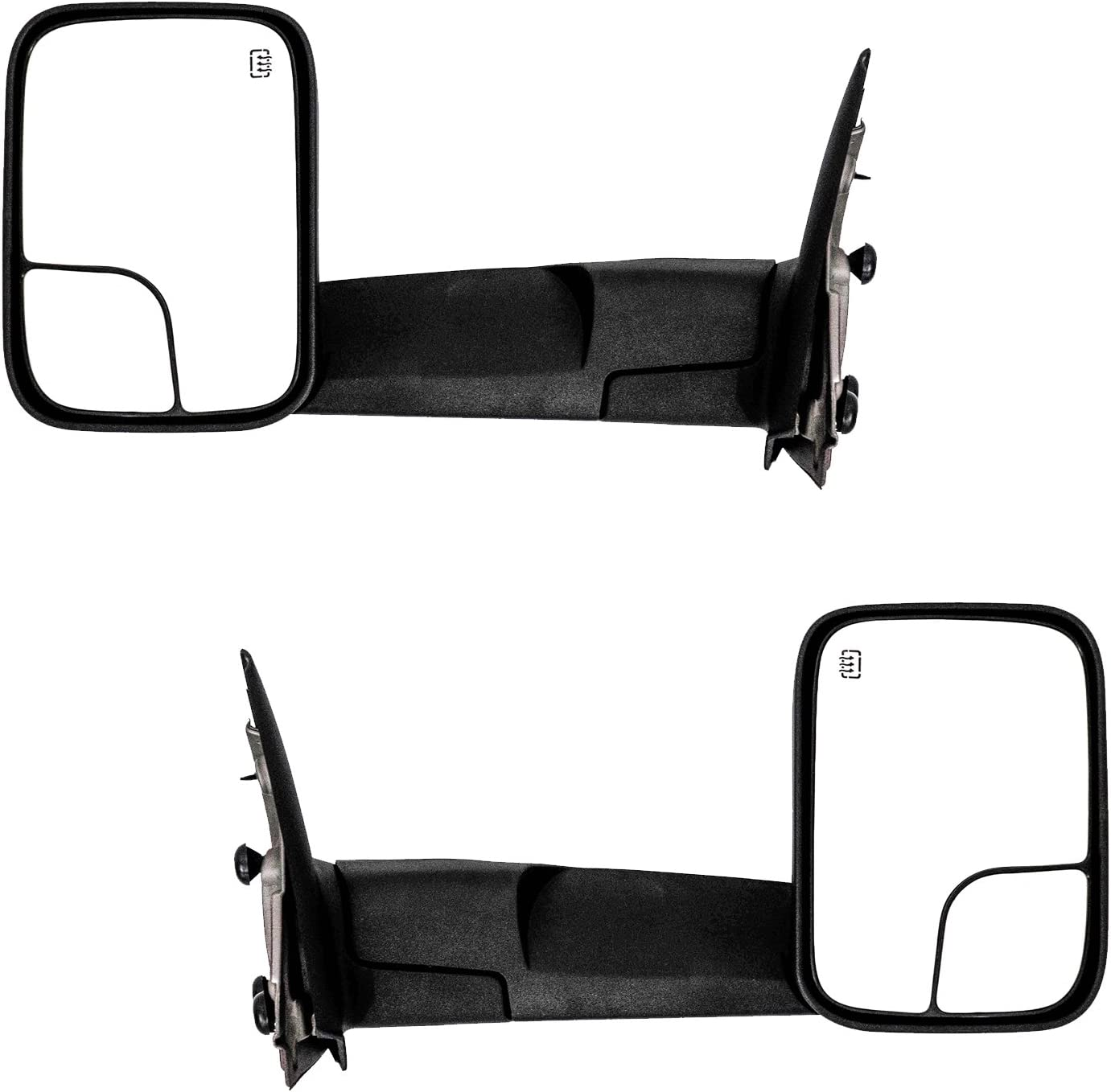 Black Pair Set Paragon Towing Mirrors for 2002-08 Dodge RAM 1500 /& 2003-09 Dodge RAM 2500//3500 Heated Powered