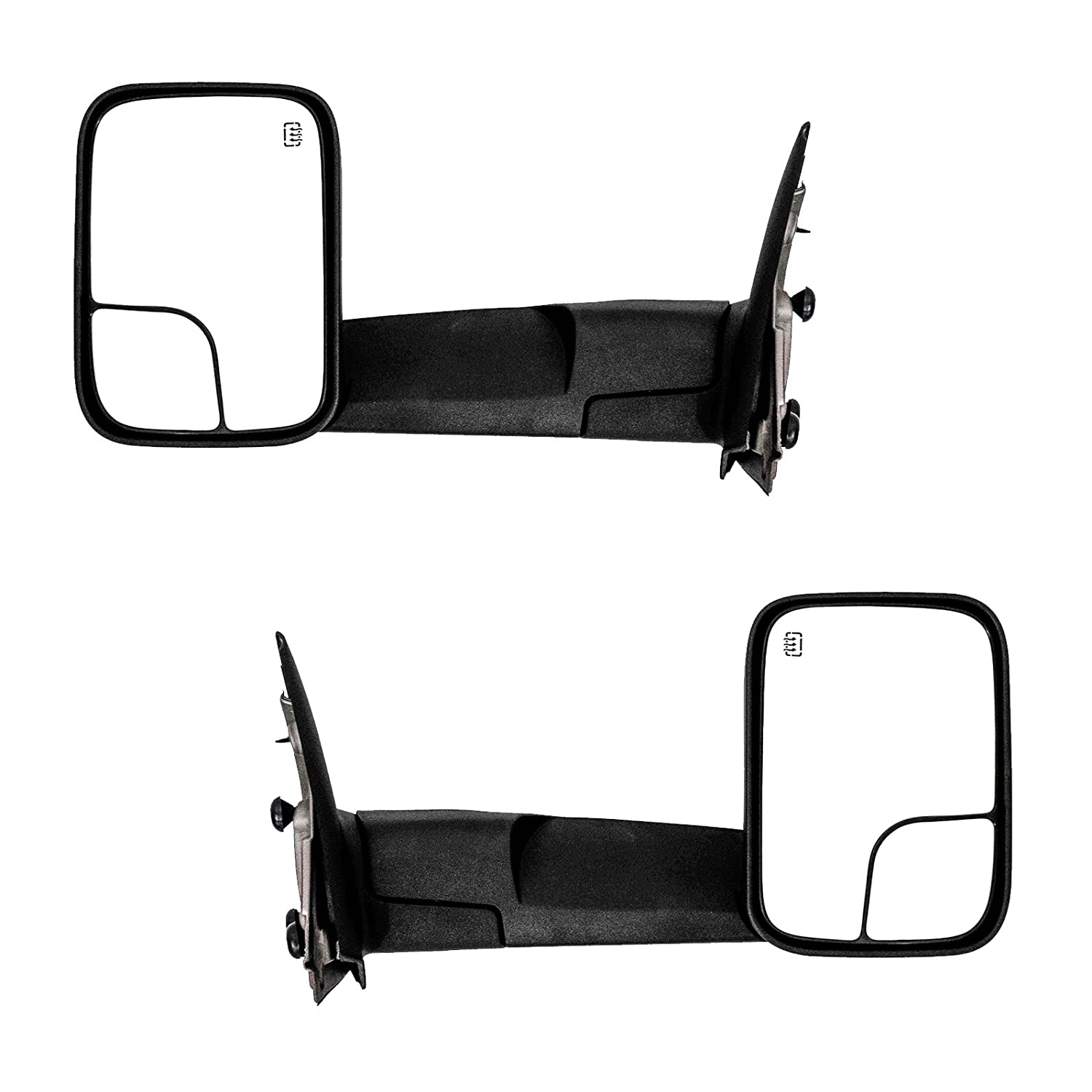 Powered Galaxy Auto Towing Mirrors for 2002-08 Dodge RAM 1500 /& 2003-09 Dodge RAM 2500//3500 Black Pair Set Heated