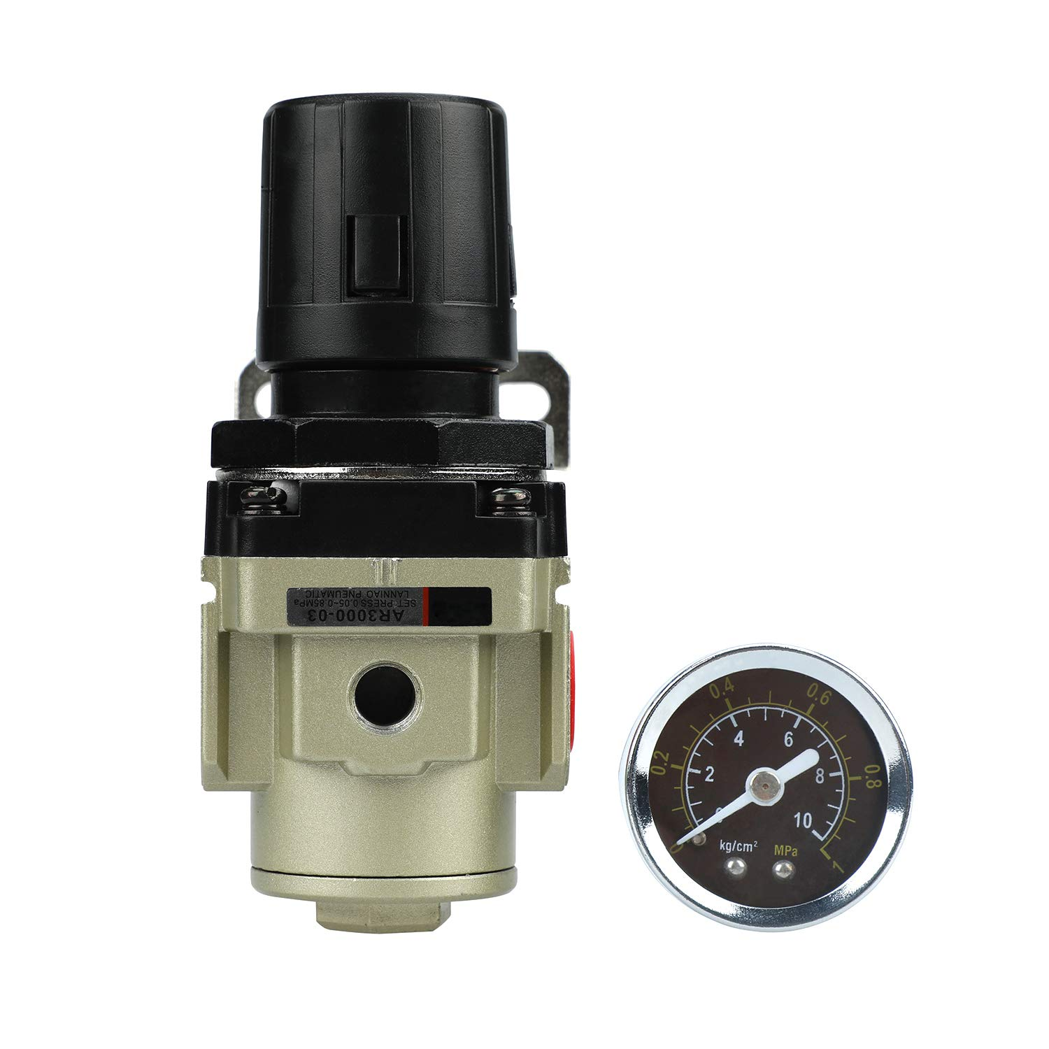 SHININGEYES Air Pressure Regulator 3//8 NPT with Gauge 0-145 PSI