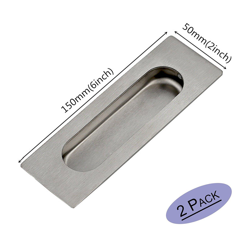 2 piece Goldenwarm Rectangular&Oval Flush Recessed Sliding Door Pull Handles Hidden Concealed Screws 6in x 2in x 0.55in Brushed Nickel Stainless Steel
