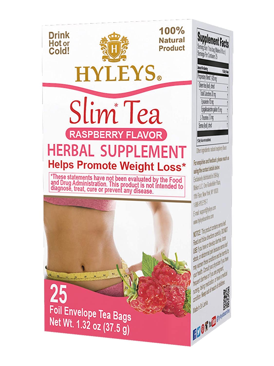 Amazon Com Hyleys Tea Slim Tea Raspberry 25 Tea Bags 100