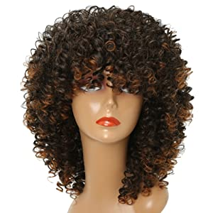 MISSWIG Curly Wig for Black Women Short Synthetic Hair 12 Inches Brown Heat Resisitant African Hair With Wig Cap.