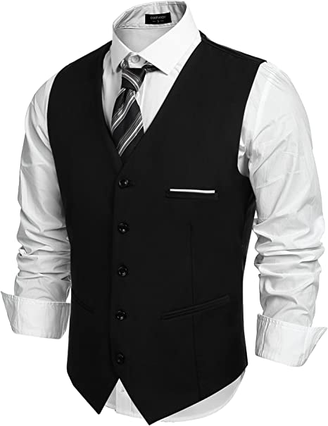 COOFANDY Mens Formal Suit Vest Business Waistcoat Double Breasted ...
