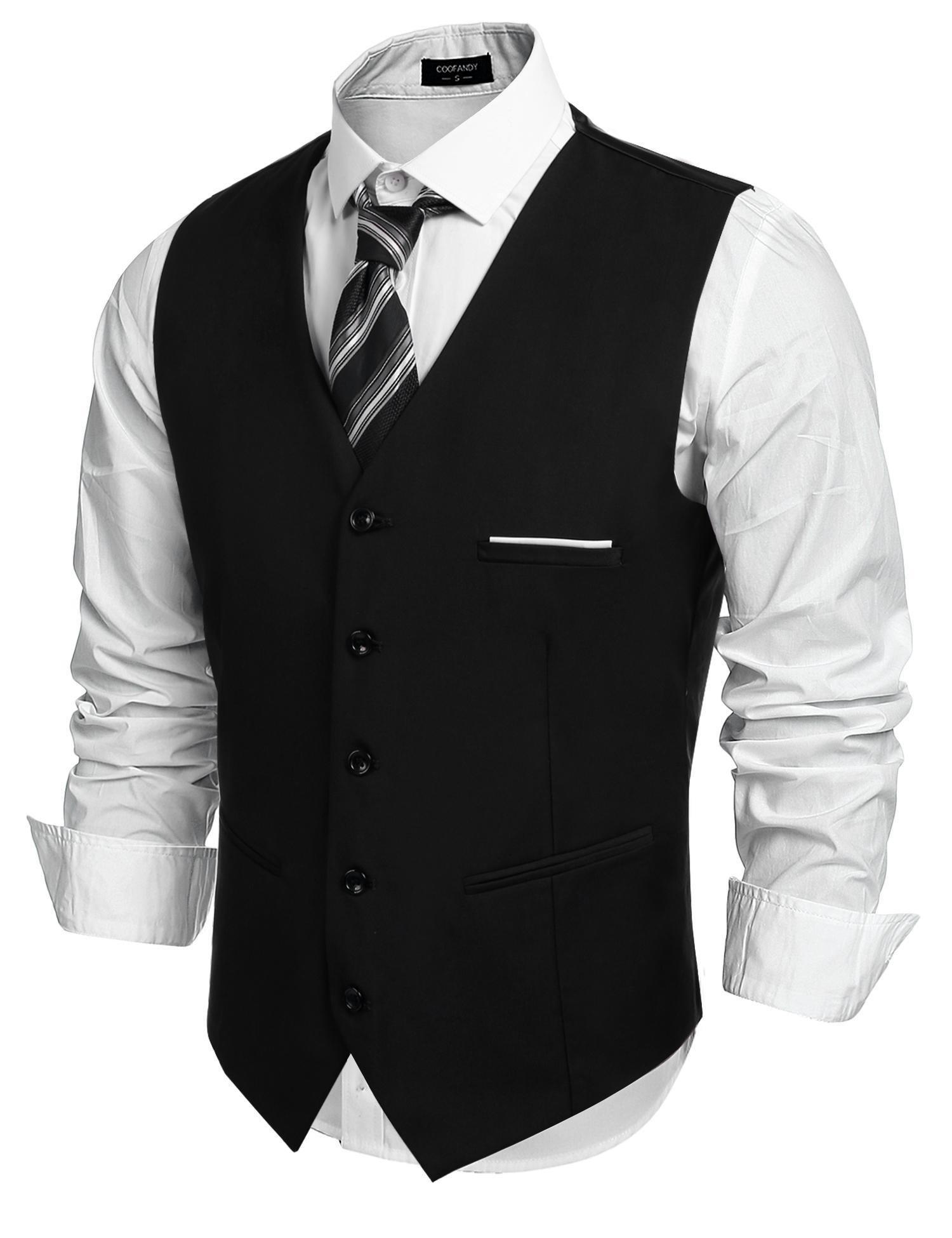 COOFANDY Men's Fashion Formal Slim Fit Business Dress Suit Vest Waistcoat Black by COOFANDY