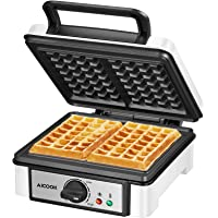 Belgian Waffle Maker Machine Non-Stick, AICOOK 1200W Waffle Iron with Shade Selector, Mess-Free Moat, Indicator Lights…