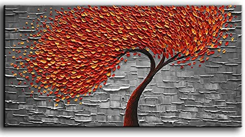YaSheng Art – Modern Abstract Painting Red Tree 3D Oil Painting Hand Painted On Canvas Abstract Artwork Picture Wall Art for Living Room Office Decoration 20x40inch