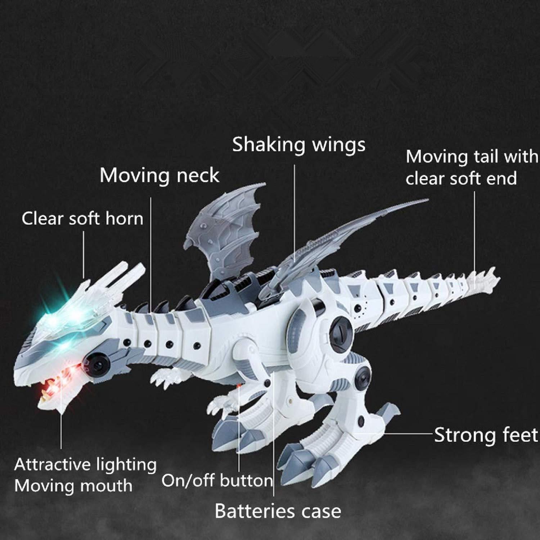 Quickfashion Juguete de Dinosaurio electr/ónico Multifuncional Caminando Tyrannosaurus Rex Robot de Juguete con Luces Intermitentes Sonidos Movimiento Bater/ía Desarrollado para ni/ños