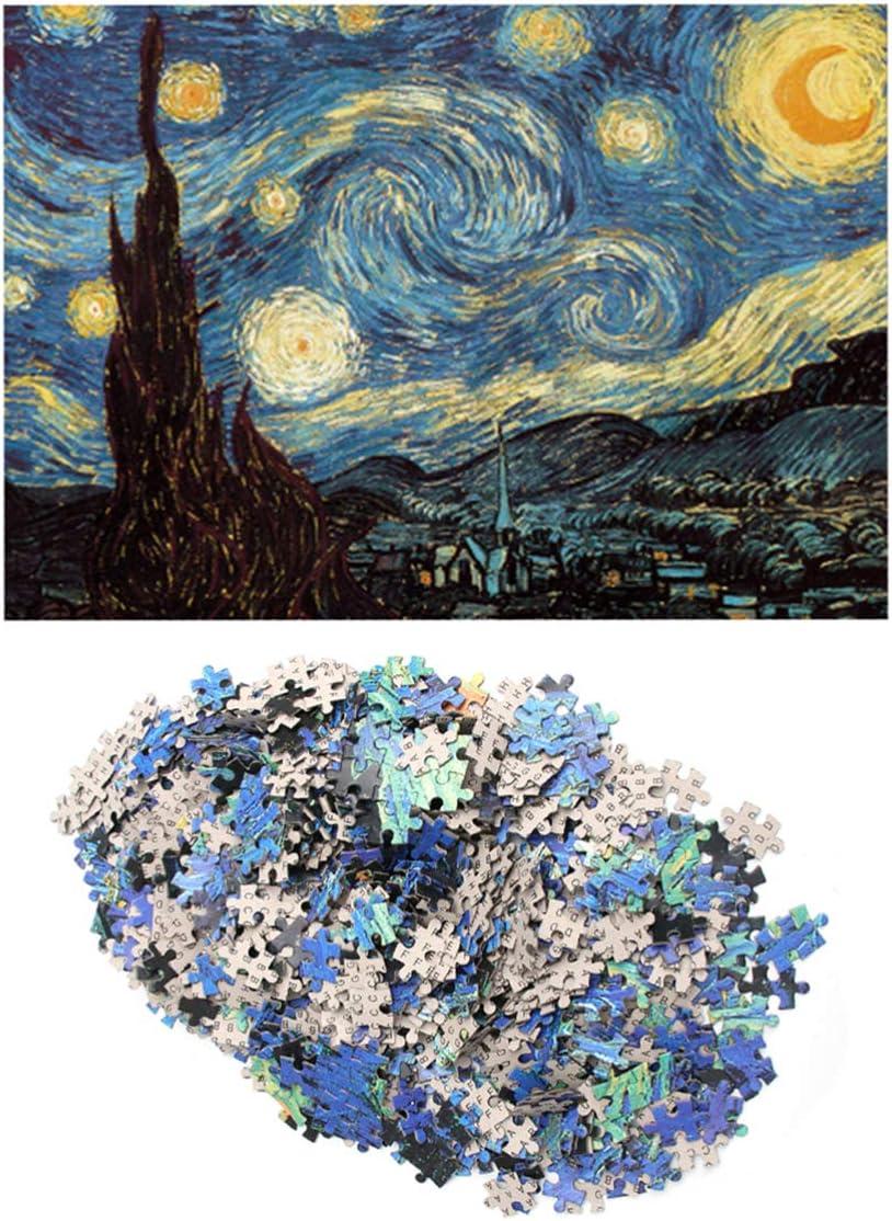 TOYANDONA Rompecabezas para Adultos Rompecabezas de 1000 Piezas Rompecabezas de la Noche Estrellada Van Gogh Colorido Juego de Rompecabezas de Pintura al /óleo para ni/ños Adultos