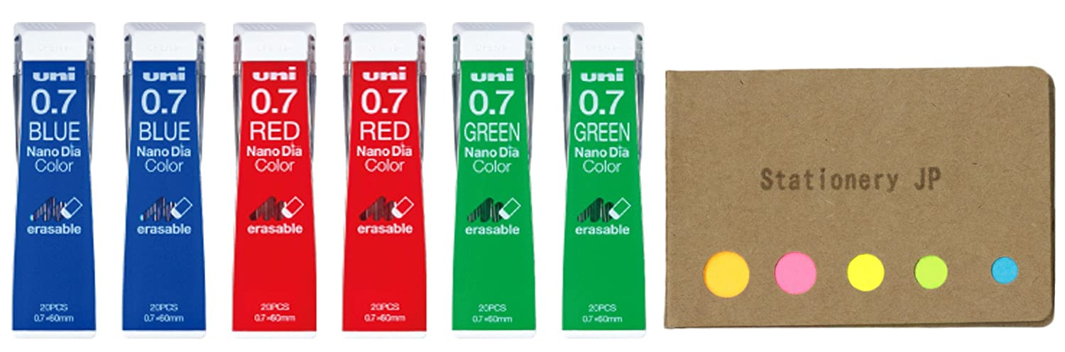Uni NanoDia Color Mechanical Pencil Leads, 0.5mm, 3 Color(Blue/Red/Green), 6-Pack/total 120 Leads, Sticky Notes Value Set Stationery JP